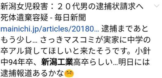 小林遥 Twitter 顔画像 中学校 高校 工業高校 新潟女児殺害 犯人